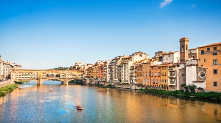 florence: Ponte Vecchio with river Arno at sunset, Florence, Italy
