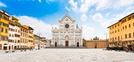 piazza: Panoramic view of Piazza Santa Croce with famous Basilica di Santa Croce in Florence, Tuscany, Italy Stock Photo