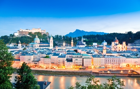 Salzburg panorama at dusk as seen from Kapuzinerberg in Salzburg, Austria Stock Photo - 19141153