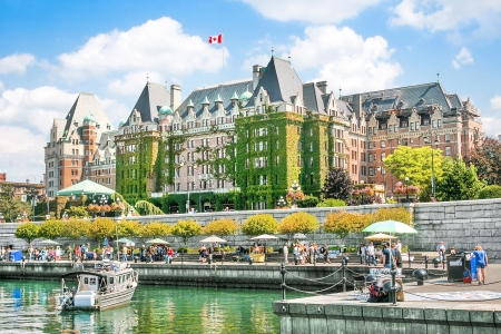 victoria: Beautiful view of Inner Harbour of Victoria, BC, Canada Editorial