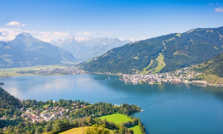 german swiss: Beautiful view of the city of Zell am See with Zeller Lake in Salzburg, Austria