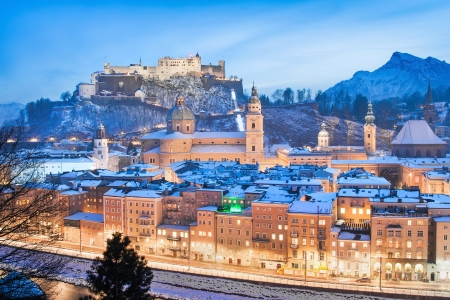 advent time: Salzburg skyline in winter as seen from Kapuzinerberg, Salzburger Land, Austria Stock Photo