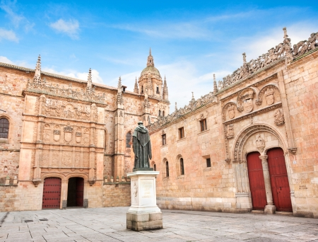 Beautiful view of famous University of Salamanca, the oldest university in Spain and one of the oldest in Europe, in Salamanca, Castilla y Leon region, Spain Editorial