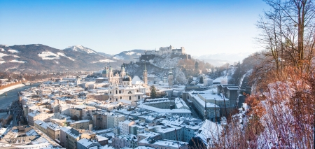 Panoramic view of the historic city of Salzburg in winter, Salzburger Land, Austria photo