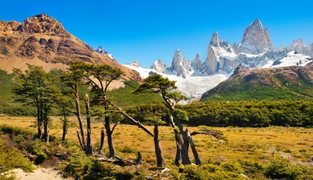 campo de hielo sur: Beautiful landscape with Mt Fitz Roy in Los Glaciares National Park, Patagonia, Argentina, South America  Stock Photo