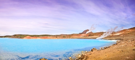 thermal spring: Panoramic view of geothermal landscape with beautiful azure blue crater lake, Myvatn area, north of Iceland Stock Photo
