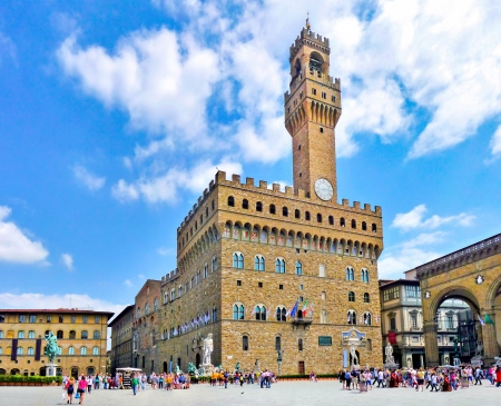 Panoramic view of Piazza della Signoria with Palazzo Vecchio in Florence, Tuscany, Italy