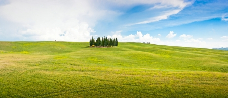 Panoramic view of scenic Tuscany landscape in Val d photo