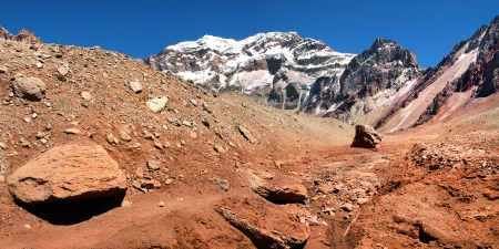 mendoza: Mountain landscape with Aconcagua as seen in the background, Aconcagua National Park, Argentina, South America