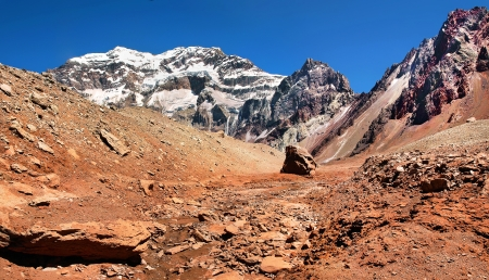 Mountain landscape with Aconcagua as seen in the background, Aconcagua National Park, Argentina, South America photo