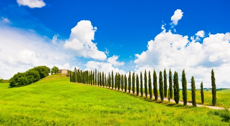 Beautiful landscape with house on hill in Val d Orcia, Tuscany, Italy