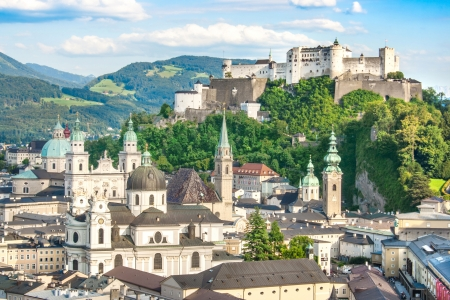of mozart: Beautiful view of the historic city of Salzburg with Festung Hohensalzburg in summer, Salzburger Land, Austria Stock Photo