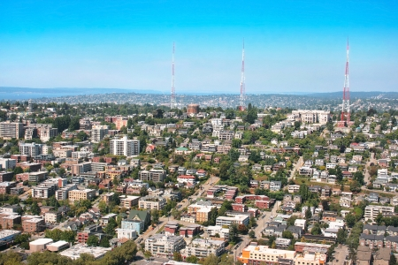 Aerial view of Queen Anne Hill neighborhood in Seattle, Washington as seen from Space Needle Stock Photo