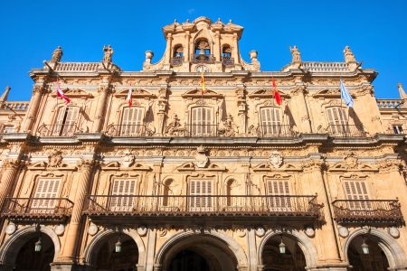 Town hall at Plaza Mayor in Salamanca, Castilla y Leon, Spain photo
