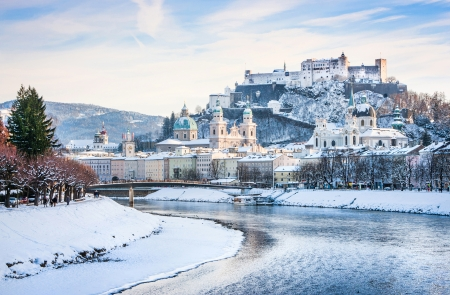 of mozart: Beautiful view of Salzburg skyline with Festung Hohensalzburg and river Salzach in winter, Salzburger Land, Austria