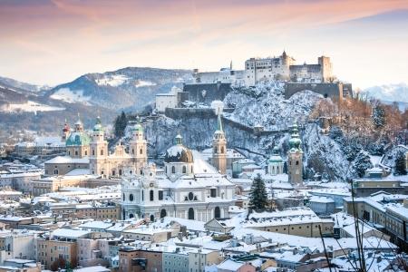 Beautiful view of the historic city of Salzburg with Festung Hohensalzburg in winter, Salzburger Land, Austria photo