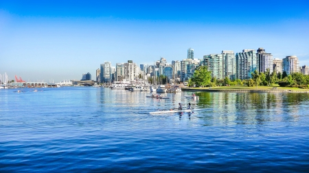 bay: Vancouver skyline with harbor, British Columbia, Canada Stock Photo