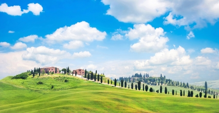 Beautiful view of scenic Tuscany landscape in Val d