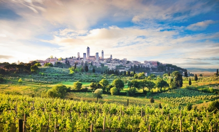 Beautiful landscape with the medieval city of San Gimignano at sunset in Tuscany, province of Siena, Italy photo