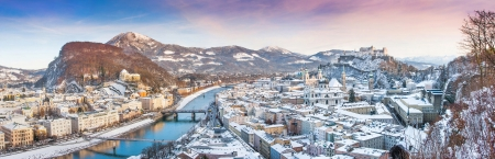 of mozart: Panoramic view of the historic city of Salzburg in winter, Salzburger Land, Austria