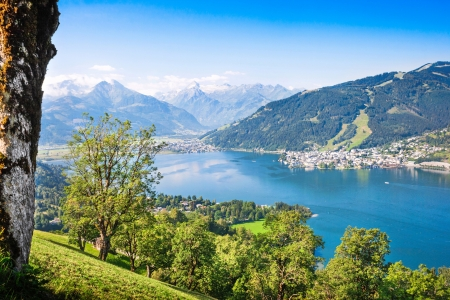 rauris: Beautiful landscape with Alps and mountain lake in Zell am See, Austria Stock Photo