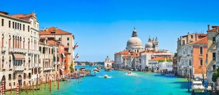 grande: Panoramic view of Canal Grande with Basilica di Santa Maria della Salute in Venice, Italy