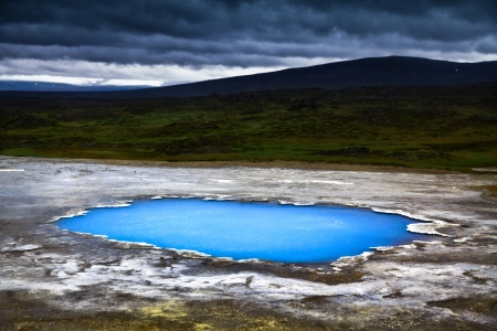 crater highlands: Beautiful landscape with hot geothermal spring Blahver at night in Hveravellir, Iceland Stock Photo
