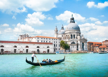 Gondola on Canal Grande with Basilica di Santa Maria della Salute in the background, Venice, Italy Editorial