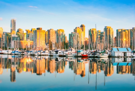 port stanley: Beautiful view of Vancouver skyline with harbor at sunset, British Columbia, Canada