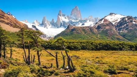 campo de hielo sur: Beautiful landscape with Mt Fitz Roy in Los Glaciares National Park, Patagonia, Argentina, South America