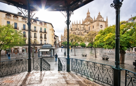Plaza Mayor with Catedral de Santa Maria de Segovia in the background in the historic city of Segovia, Castilla y Leon, Spain photo