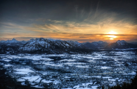 Panoramic view of the city of Salzburg, Austria at sunset as seen from Gaisberg. photo