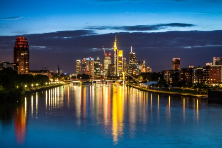 river bank: Beautiful view of Frankfurt am Main skyline at dusk, Germany.