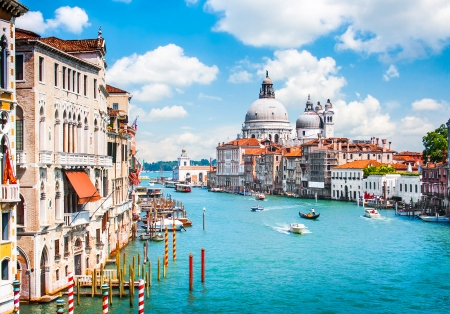 venice: Canal Grande with Basilica di Santa Maria della Salute in Venice, Italy Stock Photo