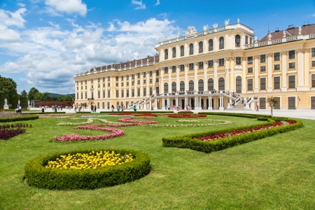nbrunn: Beautiful view of famous Schoenbrunn Palace with Great Parterre garden in Vienna, Austria Editorial