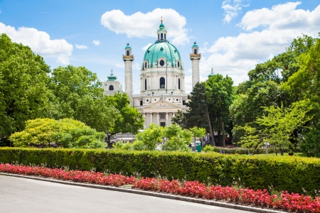 st charles: Beautiful view of famous Saint Charless Church (Wiener Karlskirche) at Karlsplatz in Vienna, Austria Stock Photo