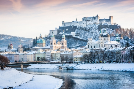 amadeus mozart: Beautiful view of Salzburg skyline with Festung Hohensalzburg and river Salzach in winter, Salzburger Land, Austria