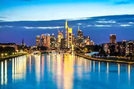 Beautiful view of Frankfurt am Main skyline at dusk, Germany. photo