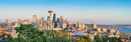 puget sound: Seattle skyline panorama at sunset as seen from Kerry Park, Seattle, WA Stock Photo
