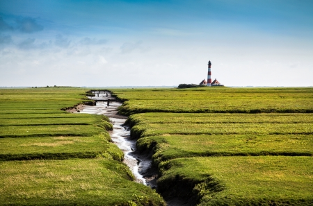 schleswig holstein: Beautiful landscape with famous Westerheversand lighthouse in the background at North Sea in Nordfriesland, Schleswig-Holstein, Germany Stock Photo
