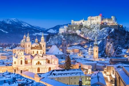 Historic city of Salzburg with Festung Hohensalzburg in winter, Salzburger Land, Austria Stock Photo