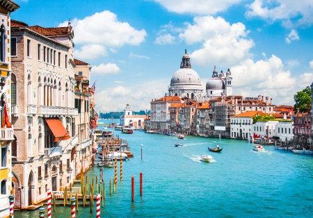 canals: Canal Grande with Basilica di Santa Maria della Salute in Venice, Italy Stock Photo
