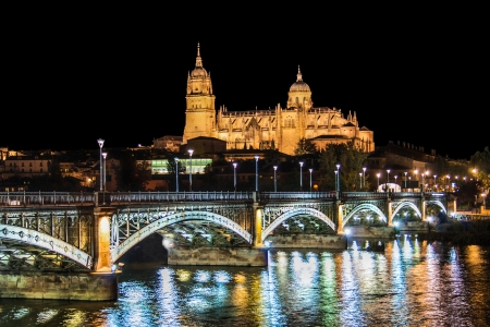 castile leon: Beautiful view of the historic city of Salamanca with New Cathedral and Enrique Esteban bridge at night, Castilla y Leon region, Spain Stock Photo