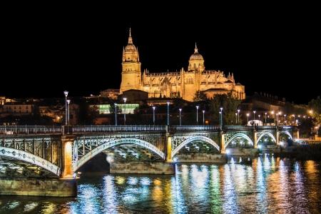 salamanca: Beautiful view of the historic city of Salamanca with New Cathedral and Enrique Esteban bridge at night, Castilla y Leon region, Spain Stock Photo