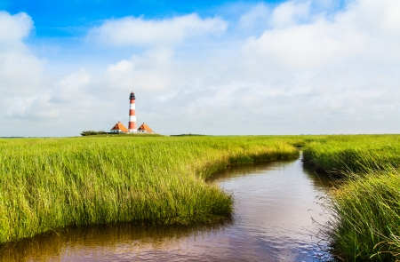 westerheversand lighthouse: Beautiful landscape with small pond and lighthouse in the background at North Sea in Nordfriesland, Schleswig-Holstein, Germany