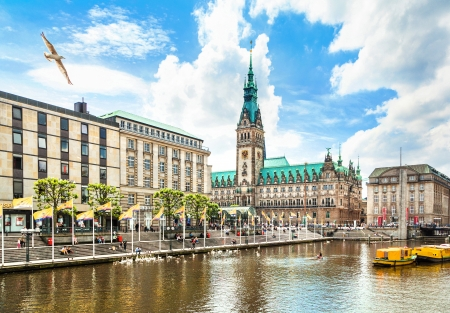 Beautiful view of Hamburg city center with town hall and Alster river, Germany Editorial