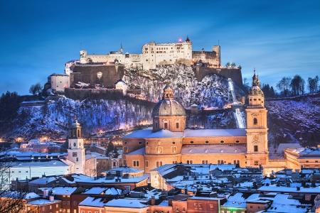 christkind: Beautiful view of the historic city of Salzburg with Festung Hohensalzburg in winter, Salzburger Land, Austria