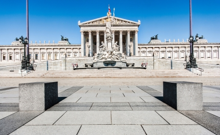 Austrian parliament building with famous Pallas Athena fountain and main entrance in Vienna, Austria photo