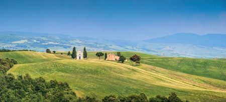 Beautiful Tuscany landscape with famous Cappella della Madonna di Vitaleta in Val d Orcia, Italy photo