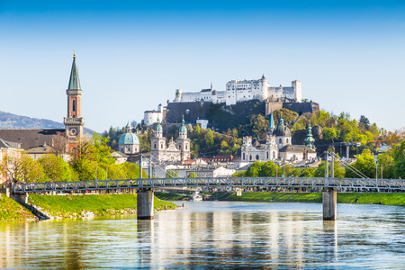 Beautiful view of Salzburg skyline with Festung Hohensalzburg and river Salzach, Salzburger Land, Austria photo